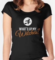 What's Up My Witches? Halloween Women's Fitted Scoop T-Shirt