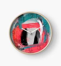 blue meets pink on a cloudy day Clock