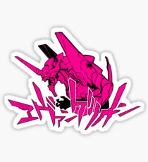 Pegatina Evangelion - rosa y negro