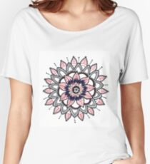 Black and Red Flower Mandala  Women's Relaxed Fit T-Shirt
