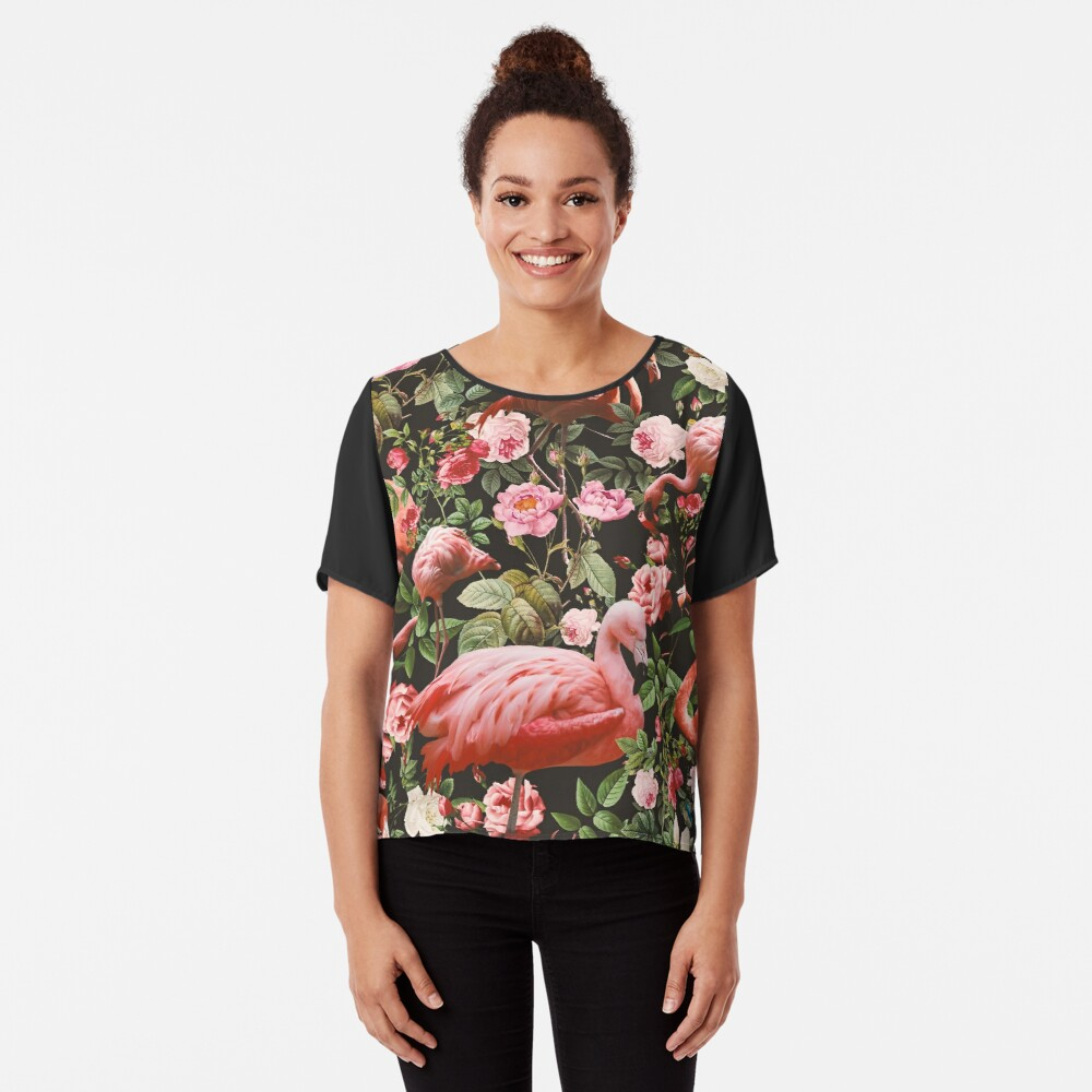 Floral and Flamingo Pattern Chiffon Top