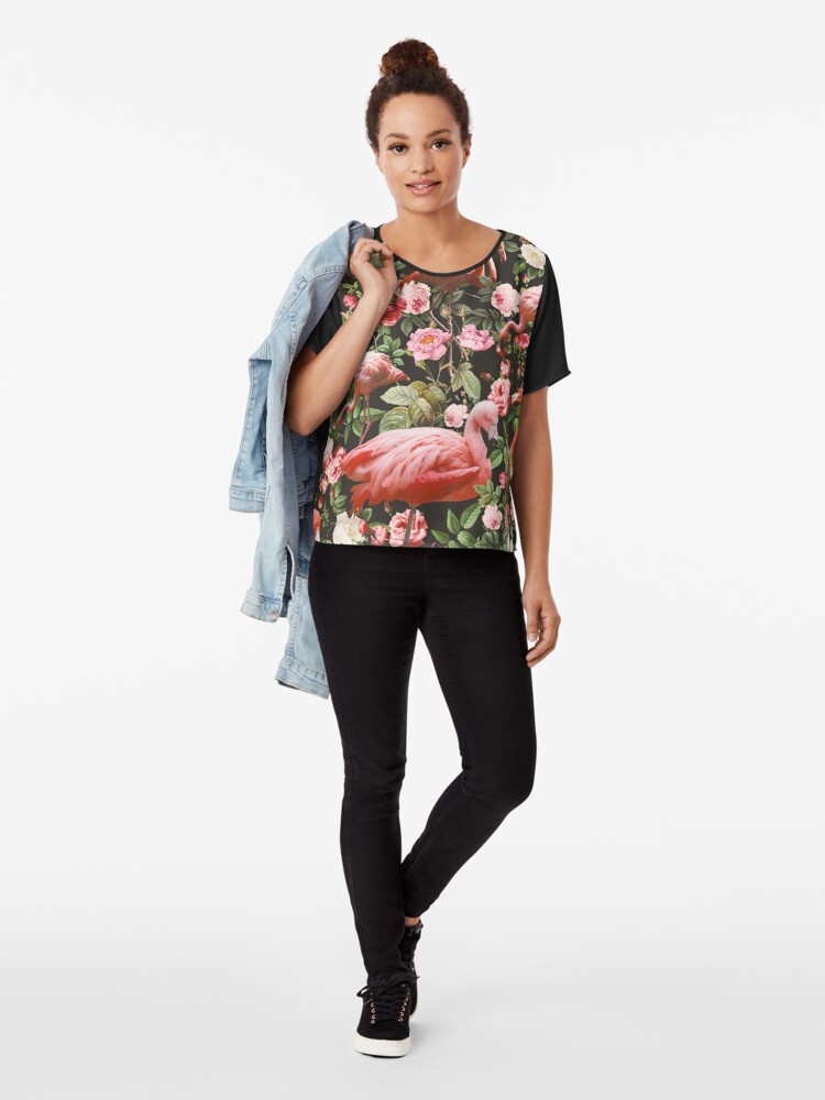Alternate view of Floral and Flamingo Pattern Chiffon Top