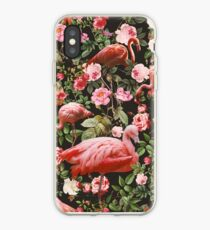 Floral and Flamingo Pattern iPhone Case