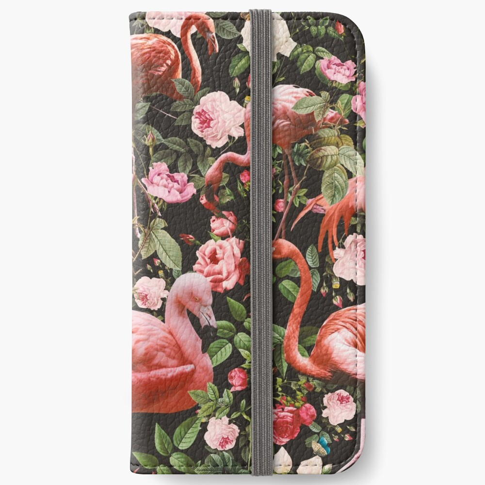 Floral and Flamingo Pattern iPhone Wallet