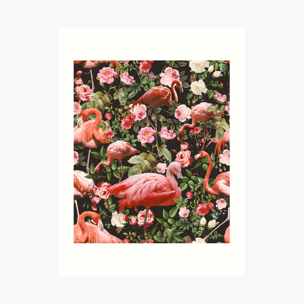 Floral and Flamingo Pattern Art Print