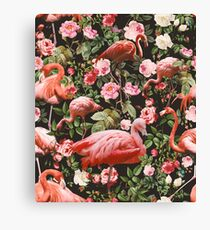 Floral and Flamingo Pattern Canvas Print