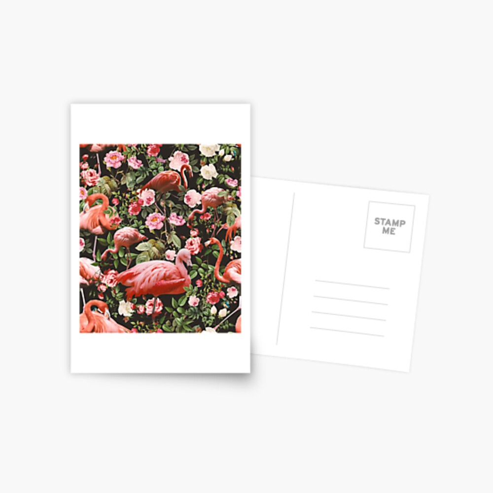 Floral and Flamingo Pattern Postcard