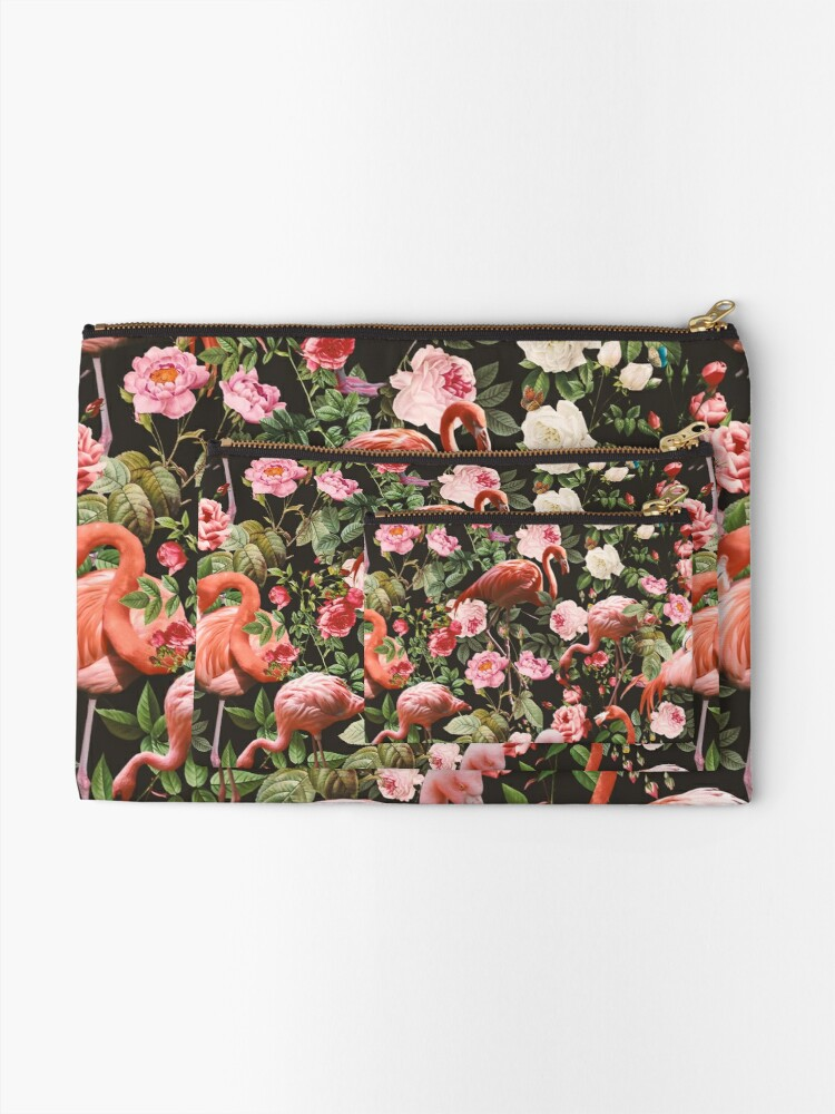 Alternate view of Floral and Flamingo Pattern Zipper Pouch