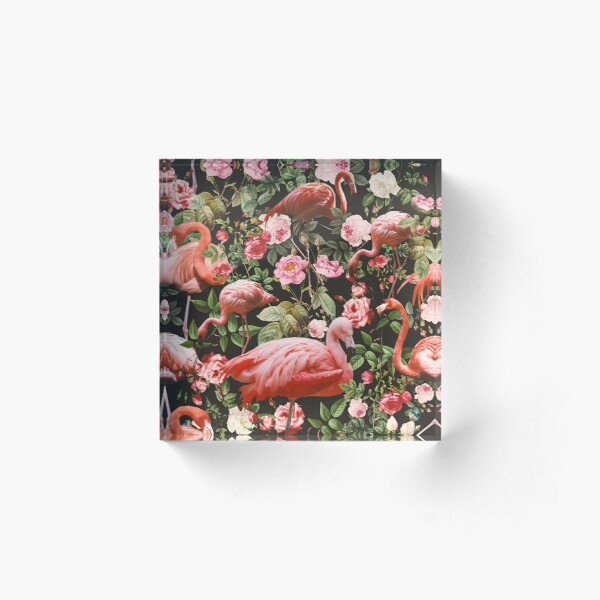 Floral and Flamingo Pattern Acrylic Block