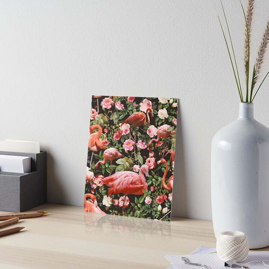 Floral and Flamingo Pattern Art Board Print