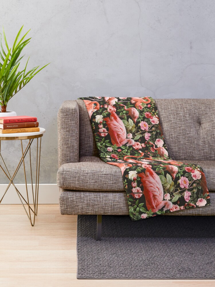 Alternate view of Floral and Flamingo Pattern Throw Blanket
