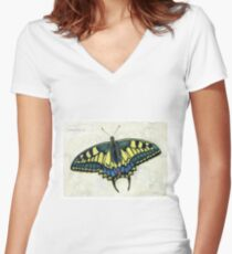 Swallowtail butterfly Women's Fitted V-Neck T-Shirt