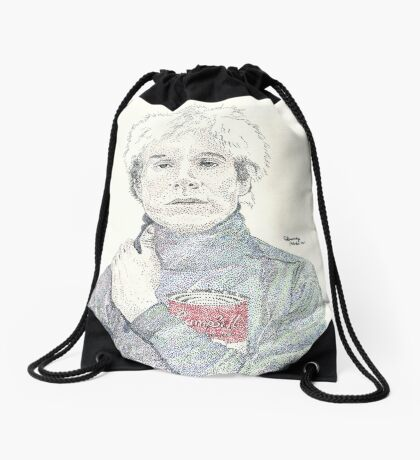 Andy Warhol pop art soup artist pointillism Drawstring Bag