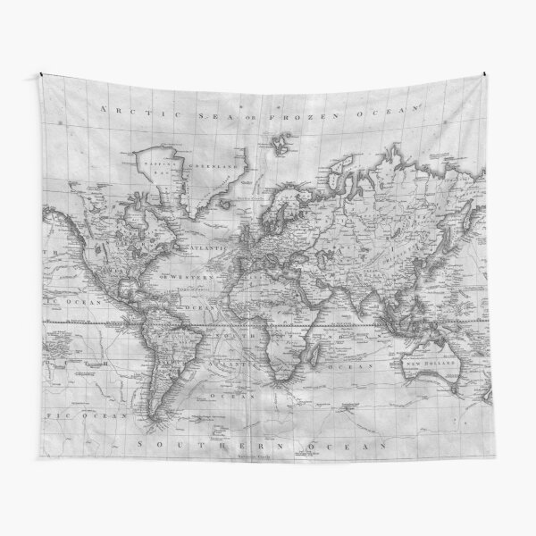 Black and White World Map (1801) Tapestry