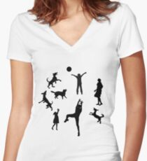 Father,mother,kids and pet Dogs playing ball,family reunion,fun,funny Women's Fitted V-Neck T-Shirt
