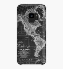 Black and White World Map (1922) Inverse Case/Skin for Samsung Galaxy