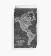 Black and White World Map (1922) Inverse Duvet Cover