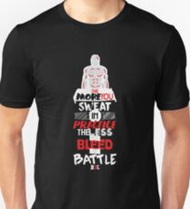BJJ Design More Sweat In Practice The Less In Battle Text T-Shirt