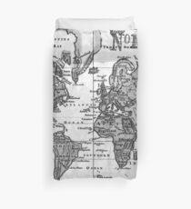 Black and White World Map (1760) Duvet Cover
