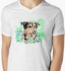 Dog portrait Men's V-Neck T-Shirt