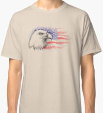 Sketch of bald eagle head on the background with American flag. Classic T-Shirt