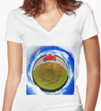 Dog hanging out a car window Women's Fitted V-Neck T-Shirt