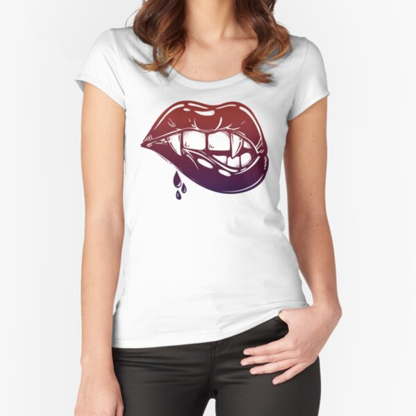 Sexy Vampire Lips with Blood Dripping Fitted Scoop T-Shirt