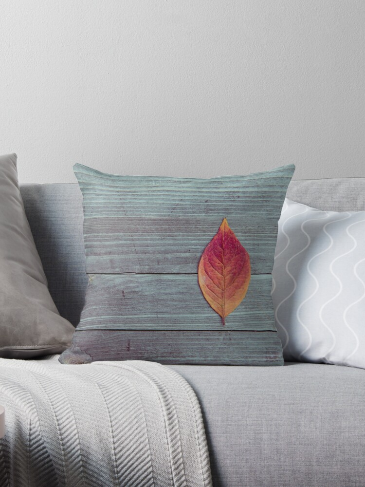 Red autumn leaf on wood by ScotHomeStyle
