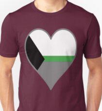 DemiRomantic Flag Heart - Gray T-Shirt