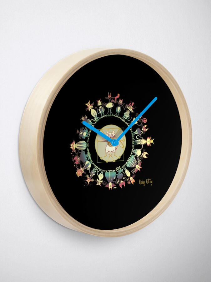 Alternate view of KINKY KITTY - Kinky Mandala Rainbow Clock