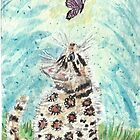 Bengal cat  purple butterfly  watercolor painting by passsionflower7