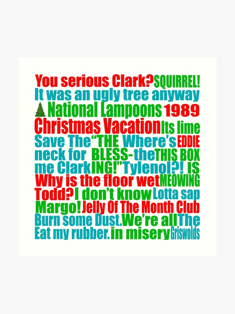 Christmas Vacation Quotes Tree.Christmas Vacation Quotes Art Print