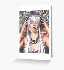 Headphone Girl Music Girl Punk Girl Butterflies Greeting Card