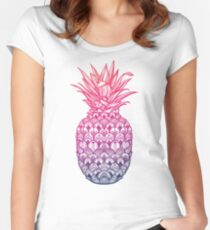 Pineapple in Paradise // Rainbow Colors Women's Fitted Scoop T-Shirt