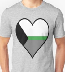 DemiRomantic Flag Heart - Black T-Shirt