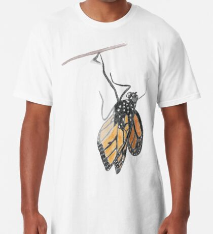 Monarch Butterfly emerging from its Chrysalis Long T-Shirt