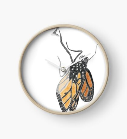 Monarch Butterfly emerging from its Chrysalis Clock