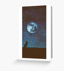 Howling Wolf - Full Moon Greeting Card