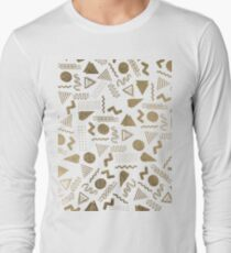 Retro abstract geometrical faux gold white 80's pattern T-Shirt