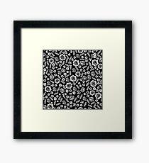 Linocut florals pattern minimal black and white home decor college dorm bohemian printmaking Framed Print
