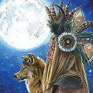 Viking Woman Wolf Art Native American Art Moon Song by Deanna Davoli