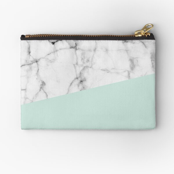 Real White marble Half pastel Mint Green Zipper Pouch