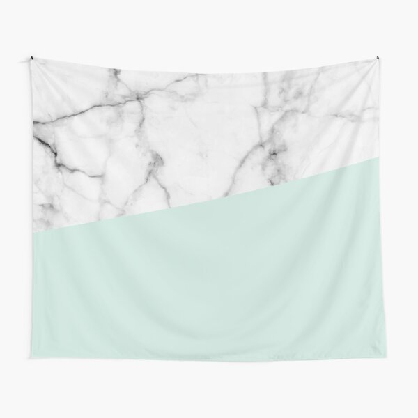 Real White marble Half pastel Mint Green Tapestry