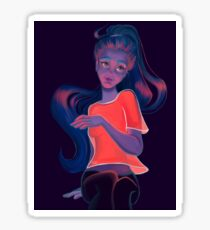 Girl in neon light Sticker