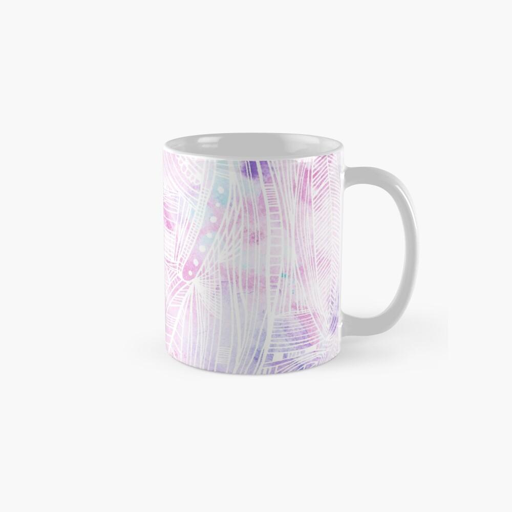 Pintado a mano acuarela rosa azulado blanco zentangle floral Taza