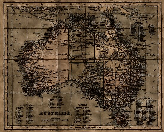 Vintage Map of Australia by NaturePrints