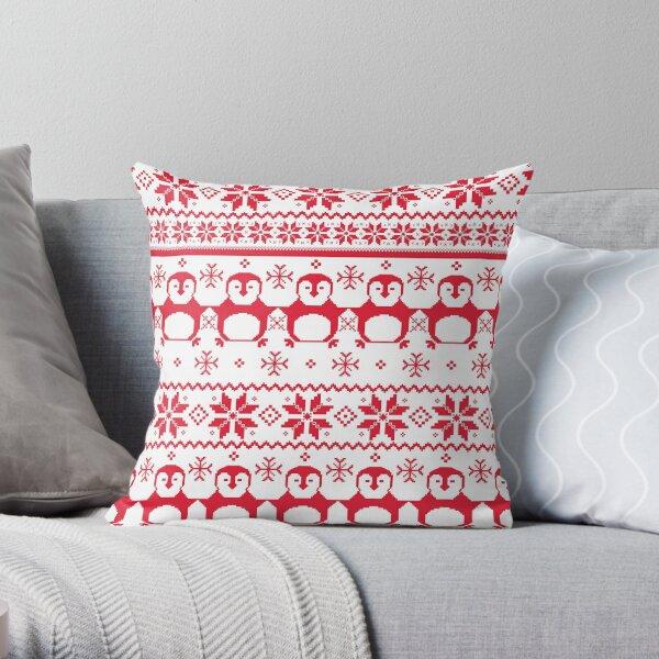Red Scandinavian Penguin Holiday Design Throw Pillow