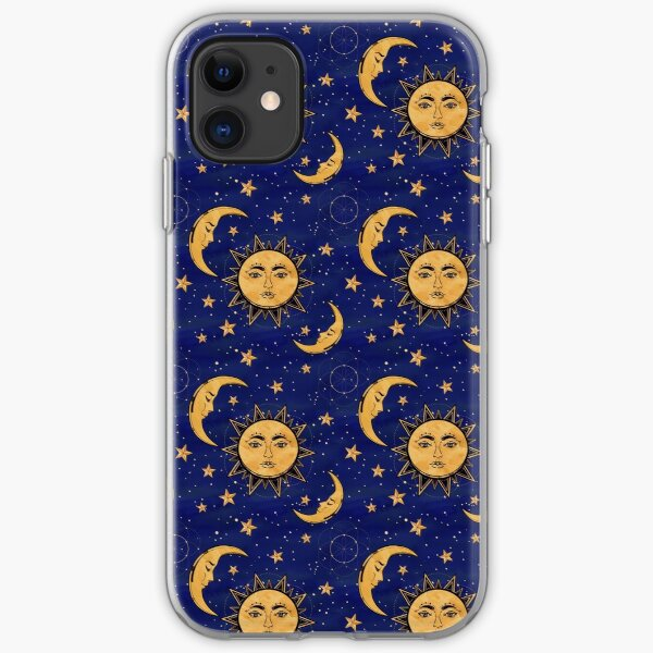 Vintage moon and sun stars celestial iPhone Soft Case