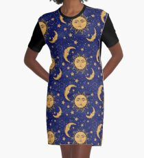 Vintage moon and sun stars celestial Graphic T-Shirt Dress