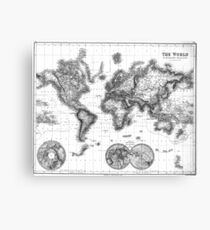 Black and White World Map (1872) Canvas Print